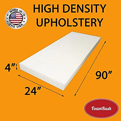Image of FoamRush 4'H x 24'W x 90'L Upholstery Foam High Density Firm Foam Soft Support (Chair Cushion Square Foam for Dinning Chairs, Wheelchair Seat Cushion Replacement) Home and Kitchen