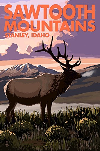 Stanley, Idaho - Sawtooth Mountains - Elk and Sunset (12x18 Art Print, Wall Decor Travel Poster)