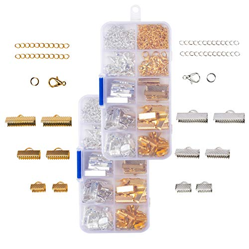 Ribbon Bracelet Kit - 2-Pack 740 Pieces Total Ribbon Bracelet Jewelry Findings, Includes Ribbon End Crimps, Lobster Clasps, Jump Rings, and Chain Extenders, Gold and Silver