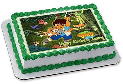 Go Diego Go Edible Birthday Cake OR Cupcake Topper - 7.5 x 10' rectangular inches -