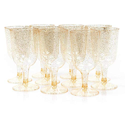 50 Disposable Plastic Wine Glasses, 6oz (170ml) - Glitter Gold - Ideal for Wedding Parties, Nightclubs, Festive Occasions & More