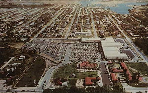Aerial View of North East Shopping Center Mall St. Petersburg, Florida Original Vintage - Shopping Mall Petersburg St