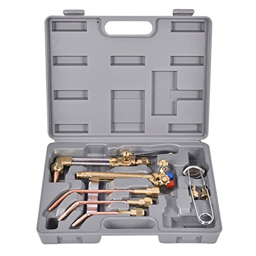 10 PCS Oxy Acetylene Gas Welding And Cutting Kit With Case Heavy Duty Metal And Brass Oxygen Torch Acetylene Welder Brazing Soldering Tool Set Precision Welding Cutting Metalworker Professional