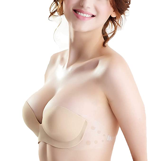 2348cf09a5 SOUCOO Strapless Backless Bra Inflatable Self-Adhesive Nubra Pump Up Cups  (B(32A