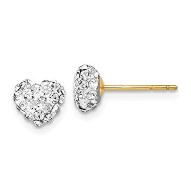 14k Crystal 6mm Heart Post Earrings in 14k Yellow Gold