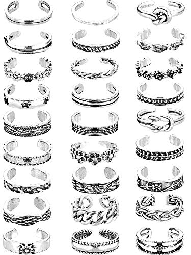 Yaomiao 27 Pieces Knuckle Rings Open Toe Rings Set for Women Girls Vintage Retro Finger Ring Adjustable