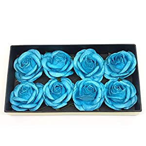 "Savvi Jewels 2"" Cyan Blue Mulberry Paper Flower Roses with Wire Stems, Rose Flowers, Artificial Flower Rose DIY Bouquets Wedding Party Baby Shower Home Decor, DIY Wedding,10 Pieces 6"