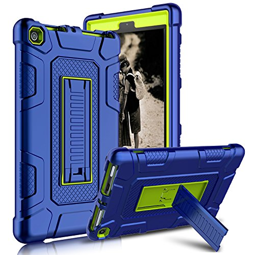 Kindle Fire 8 2017 Case, New Fire HD 8 Case, Zenic Three Layer Heavy Duty Shockproof Full-body Protective Hybrid Case Cover With Kickstand for Kindle Fire 8 2017 / All-New Fire HD 8 (Yellow/Blue)