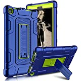 Kindle Fire 8 2017 Case, New Fire HD 8 Case, Zenic Three Layer Heavy Duty Shockproof Full-body Protective Hybrid Case Cover With Kickstand for Kindle Fire 8 2017/All-New Fire HD 8 (Yellow/Blue)