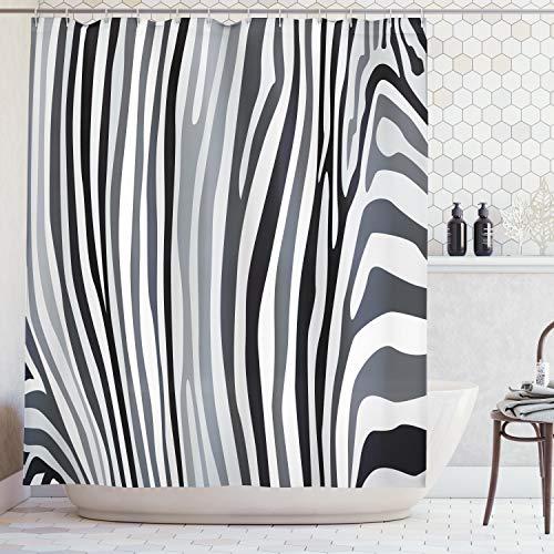 Ambesonne Zebra Print Shower Curtain, Zebra Pattern Vertical Striped Design Nature Wildlife Inspired Illustration, Fabric Bathroom Decor Set with Hooks, 70 Inches, Grey White