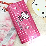 Cute Cartoon Wallet for Students Hello Kitty Long Pu Leather Wallet Rose Red