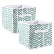 DII Fabric Storage Bins for Nursery, Offices, Home Organization, Containers Are Made To Fit Standard Cube Organizers (11x11x11) Herringbone Mint - Set of 2