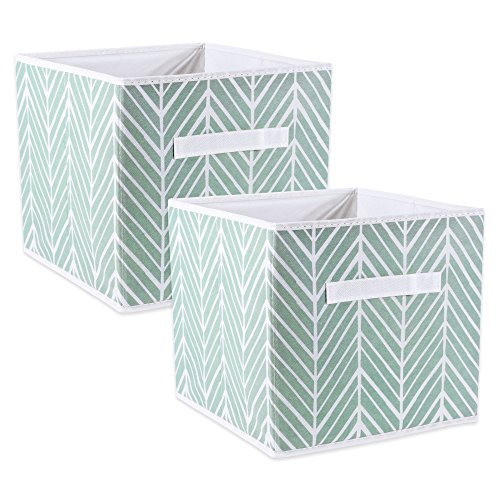 DII Fabric Storage Bins for Nursery, Offices, Home Organization, Containers Are Made To Fit Standard Cube Organizers (11x11x11) Herringbone Mint – Set of 2