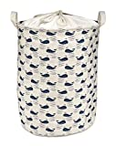 Org Store Cotton Fabric Collapsible Laundry Basket Dirty Clothes Hamper - Perfect for College Dorms, Kids Room & Bathroom - Whale Patterned