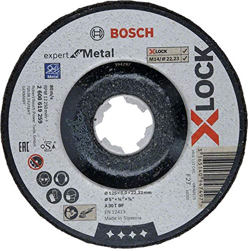 Bosch Professional 2608619259 Mola da sbavo a Centro Depresso Expert for Metal, X-Lock, /Ø 125 mm, Foro /Ø 22,23 mm, Spessore 6 mm