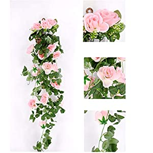 Jeeke Artificial Rose Flowers Wedding Arches for Ceremony Wisteria Garland Wisteria Vine (Pink, 1 Pcs) 39