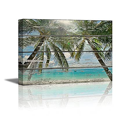 Canvas Prints Wall Art - Tropical Beach with Palm Trees on Vintage Wood Background Rustic Home Decoration - 12