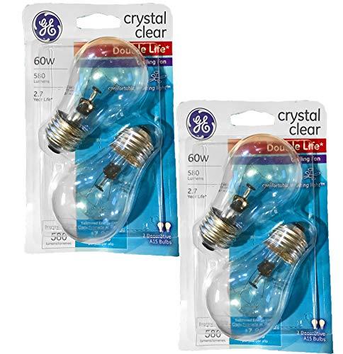 GE Double Life 60-Watt, 580 Lumens Crystal Clear Ceiling Fan Light Bulbs (4 Bulbs)