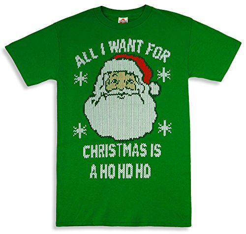 All I want For Christmas Ugly Sweater T-Shirt Green Large