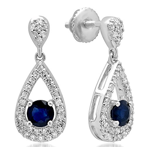 Dazzlingrock Collection 10K Round Cut Blue Sapphire & White Diamond Ladies Dangling Drop Earrings, White Gold (Dangling Sapphire Earrings Cut)
