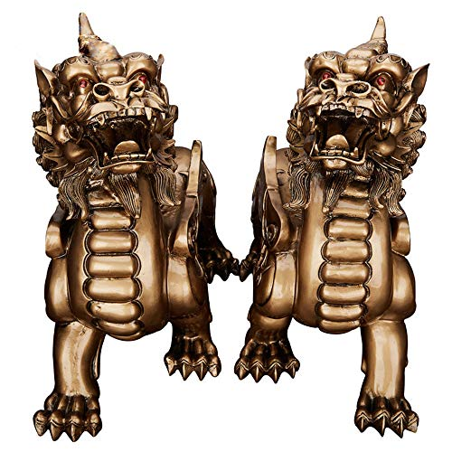Feng Shui Resin Single Corner Pixiu Pi Yao Statue Home Office Decoration Symbol Wealth(Bronze)
