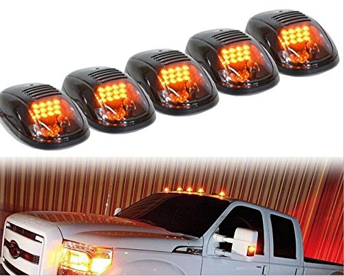 MBB 5-Pack Amber LED Cab Roof Top Marker Running Lights for Ford Truck SUV Pickup 4x4 (Clear Lens Lamps)