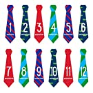 Pearhead First Year Monthly Milestone Necktie Photo Sharing Baby Belly Stickers, 1-12 Months, Blue