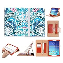 Samsung Galaxy Tab S2 9.7 Case Cover, FYY® [Super Functional Series] Premium PU Leather Case Stand Cover with Card Slots, Note Holder, Quality Hand Strap and Elastic Strap for Samsung Galaxy Tab S2 9.7 (With Auto Wake/Sleep Feature) Pattern 16