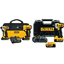 DEWALT DCF883M2 20-volt Max Lithium Ion 3/8-Inch Impact Wrench Kit with Hog Ring & DEWALT 20-Volt Max Compact Lithium-Ion Cordless Combo Drill Kit