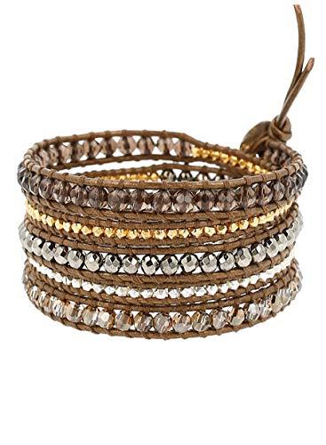 (Chan Luu Smokey Quartz Mix of Semi Precious Stones on Kansa Leather Wrap Bracelet)