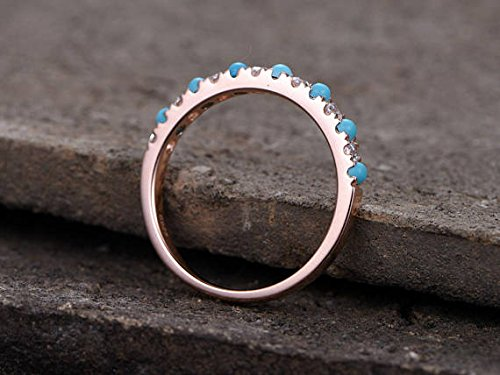 Turquoise Wedding Band Round CZ 925 Sterling Silver Rose Gold Plated Bridal Stacking Ring Stackable by Milejewel Wedding Band (Image #4)