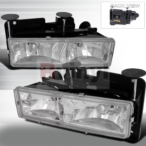 Spec-D Tuning Chevrolet C10 1988 1989 1990 1991 1992 1993 1994 1995 1996 1997 1998 Euro Headlights - Chrome - Gmc Euro Headlights