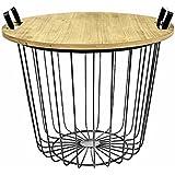 Tisch Design Beistelltisch Drahtkorb Metall mit Deckel