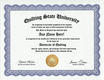 Amazon.com: Quilting Quilt Degree: Custom Gag Diploma Quilter ... : quilting jokes - Adamdwight.com