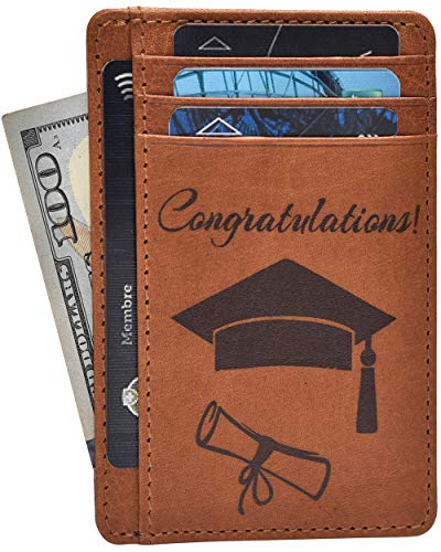 Graduation Gifts for Him and Her 2019 - Grad Party Supplies Personalized Custom Funny Gift Ideas for Phd Congrats Graduate Leather Wallets (Best Credit Card For High School Graduate)