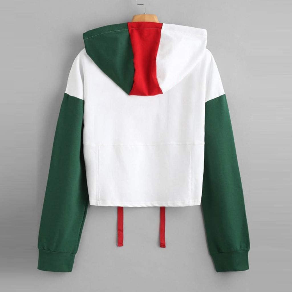 Crop Top Blouses for Women,Loose Round-Neck Long Sleeve Splice Hooded Sweatshirt Short Pullover Tops Blouse