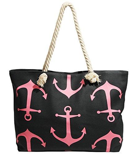 amp; pink Beach Tote blue Bag Canvas pink blue Akzent z7wqP5z