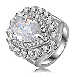 AnaZoz Jewelry 18K Gold Plated Luxury Classic Dress Rings Platinum Plated Austrian Crystal SWA Elements Engagement Rings For Women 21*26mm US Size 8