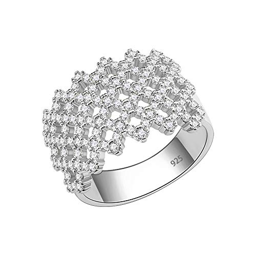 Cross Sterling Silver Wedding Bands - Lavencious Sterling Silver Cross Design with Clear CZ Stones Wide Wedding Band for Women Size 6-10 (Silver, 8)
