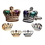Mardi Gras Colored Crowns Silver Trim Tuxedo Studs and Cufflinks