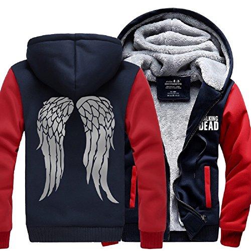 Cosfunmax TWD Daryl Dixon Wing Hoodie Fleece Sweatshirt Plus Velvet Hoody Coat Jacket M ()