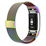 AK Fitbit Charge 2 Bands, Adjustable Milanese Stainless Steel Metal Band Strap with Magnetic Closure Clasp for Fit bit Charge 2 HR Fitness Tracker (colorful, small)