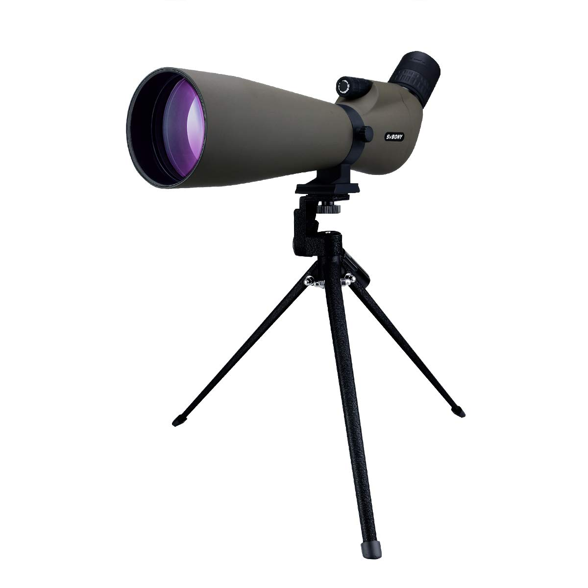 SVBONY SV401 Spotting Scope with Tripod IPX6 Waterproof 20x-60x80 Angled Eyepiece Prism FMC Optical Lens for Target Shooting Bird Watching by SVBONY
