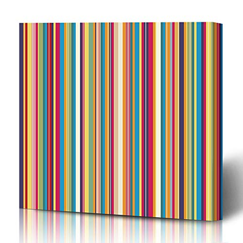 Ahawoso Canvas Prints Wall Art 12x12 Inches Fun Pink Line Retro Stripe Pattern Colors Red Modern Funky Happy Geometric Color Decor for Living Room Office Bedroom