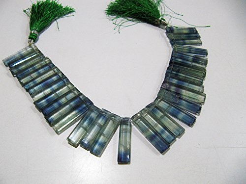 AAA Quality Natural Green Fluorite Long Baguette Shape Beads, Side Drilled Briolette Beads Size 25 to 30 mm long,Strand 8 inch. Graduated ()