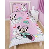 Disney Minnie Mouse Girls Makeover Reversible Duvet/Comforter Cover and Pillow (Twin Bed) (Pink)