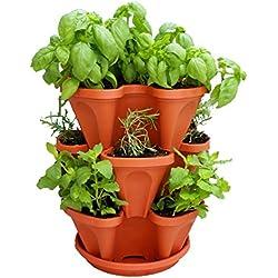 Mr. Stacky Self Watering 3 Tier Stackable Garden Vertical Planter Set, Terracotta