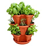Mr. Stacky Self Watering 3 Tier Stackable Garden Vertical Planter Set, Terracotta