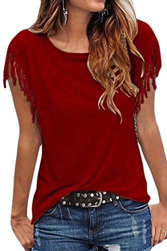(Cutiefox Womens Summer Western Shirt Knot Fringe Sleeve T Shirt Top Red L)