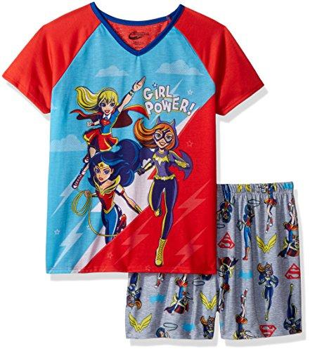 Superhero Girls Girls' Big' Pajama Short Set, Grey, Small ()